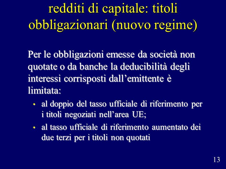 redditi di capitale: titoli obbligazionari (nuovo regime) Per le obbligazioni emesse da società non quotate o da banche la deducibilità degli interess