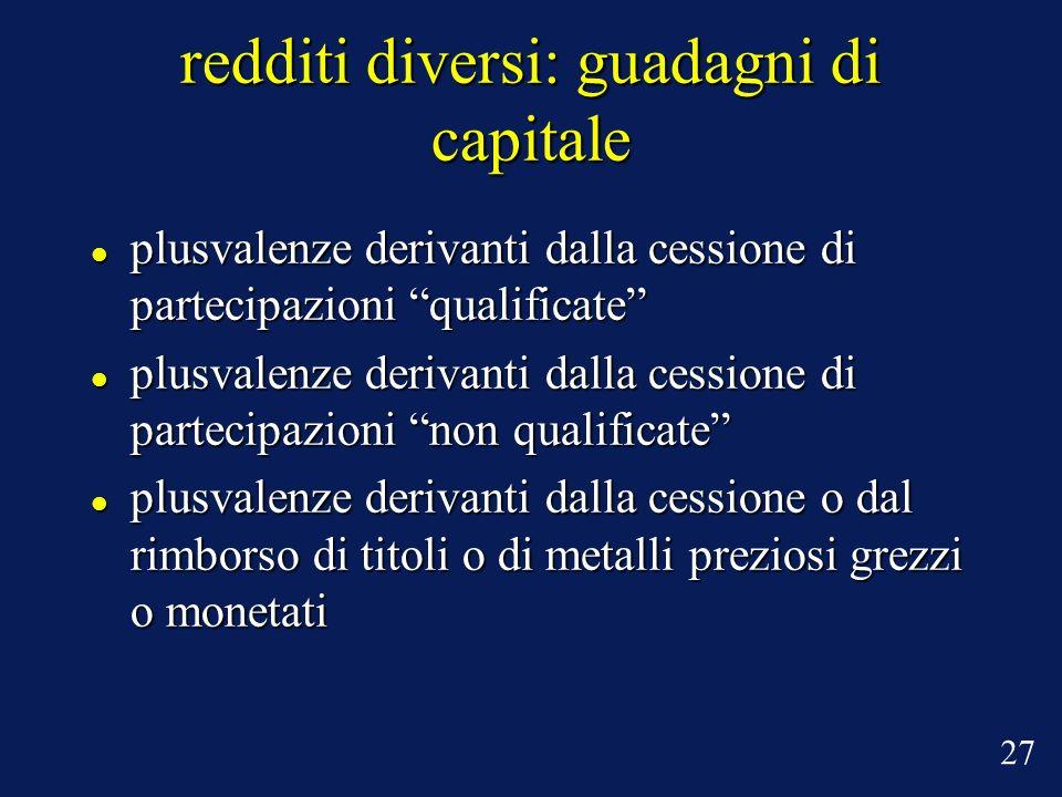 redditi diversi: guadagni di capitale plusvalenze derivanti dalla cessione di partecipazioni qualificate plusvalenze derivanti dalla cessione di parte