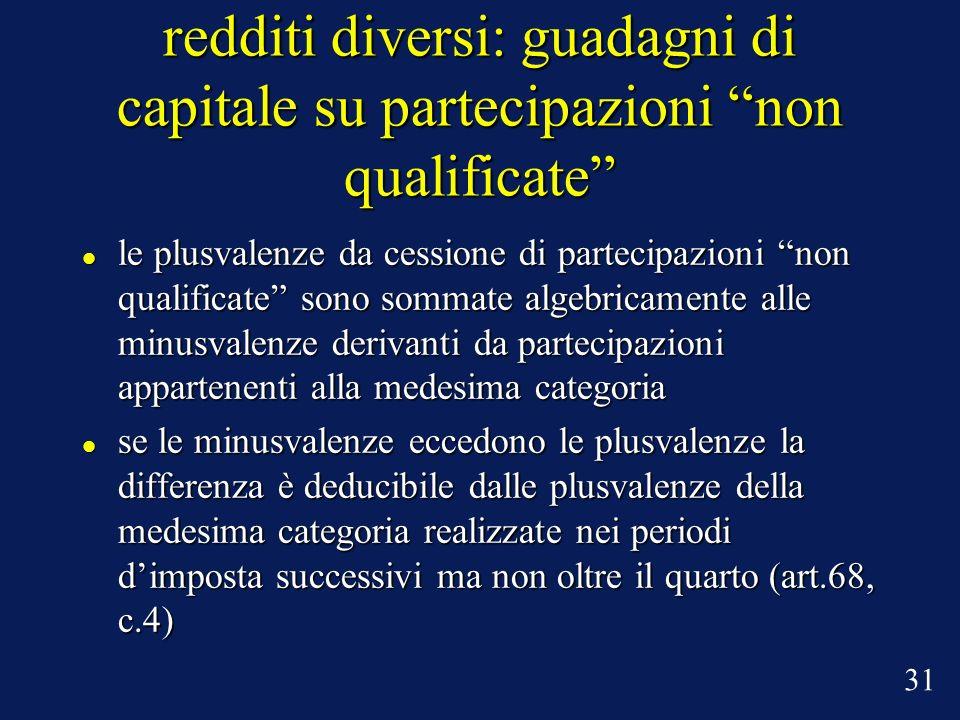 redditi diversi: guadagni di capitale su partecipazioni non qualificate le plusvalenze da cessione di partecipazioni non qualificate sono sommate alge
