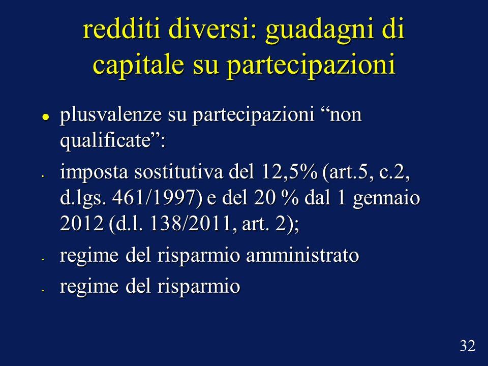 plusvalenze su partecipazioni non qualificate: plusvalenze su partecipazioni non qualificate: imposta sostitutiva del 12,5% (art.5, c.2, d.lgs. 461/19