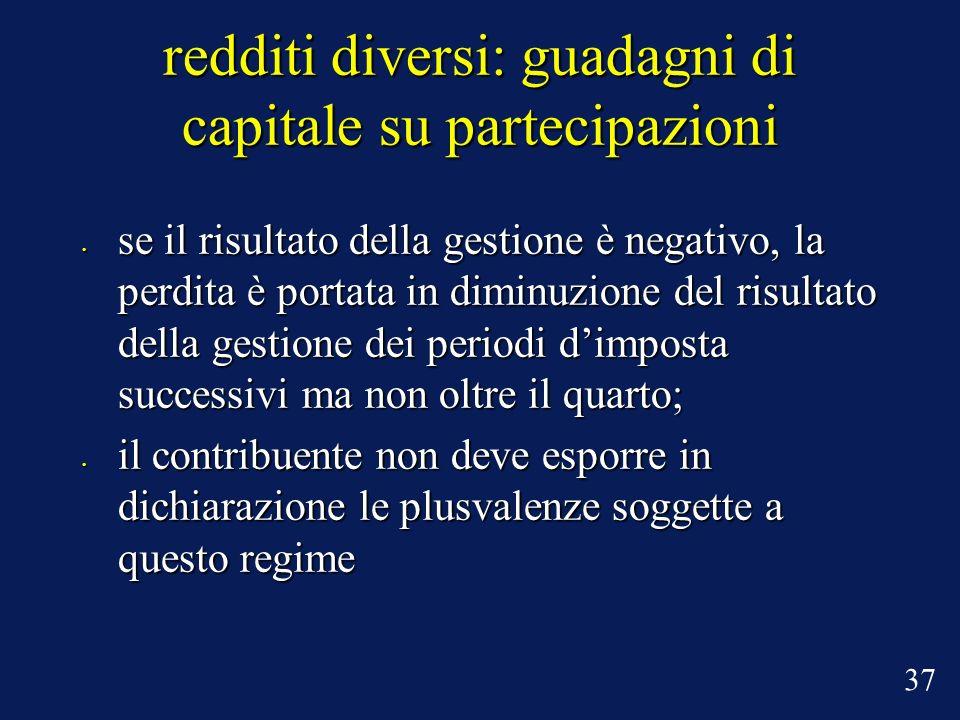 redditi diversi: guadagni di capitale su partecipazioni se il risultato della gestione è negativo, la perdita è portata in diminuzione del risultato d