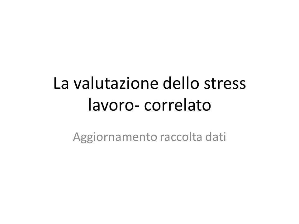 La valutazione dello stress lavoro- correlato Aggiornamento raccolta dati