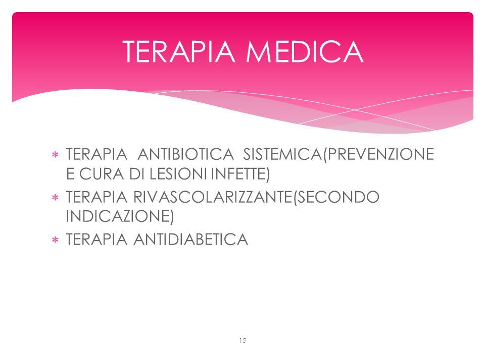 TERAPIA ANTIBIOTICA SISTEMICA(PREVENZIONE E CURA DI LESIONI INFETTE) TERAPIA RIVASCOLARIZZANTE(SECONDO INDICAZIONE) TERAPIA ANTIDIABETICA 15 TERAPIA MEDICA