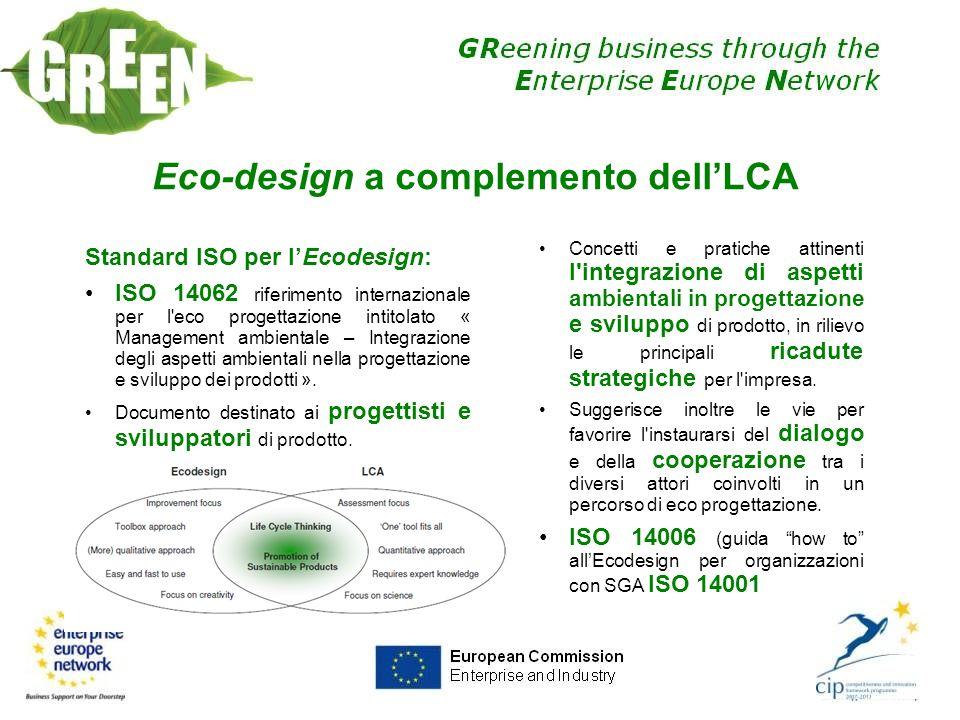 Eco-design a complemento dellLCA Standard ISO per lEcodesign: ISO 14062 riferimento internazionale per l'eco progettazione intitolato « Management amb