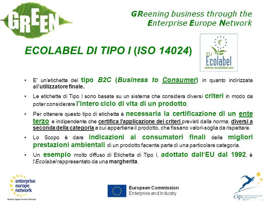 ECOLABEL DI TIPO I (ISO 14024) E' un'etichetta del tipo B2C (Business to Consumer) in quanto indirizzata all'utilizzatore finale. Le etichette di Tipo