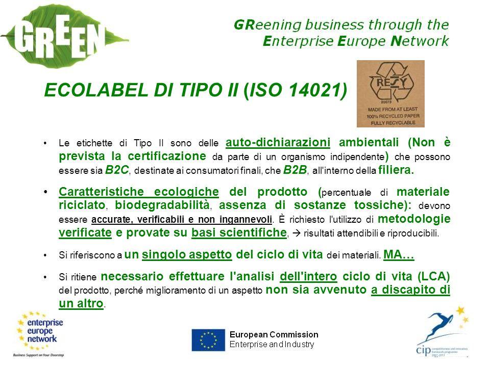 ECOLABEL DI TIPO II (ISO 14021) Le etichette di Tipo II sono delle auto-dichiarazioni ambientali (Non è prevista la certificazione da parte di un orga