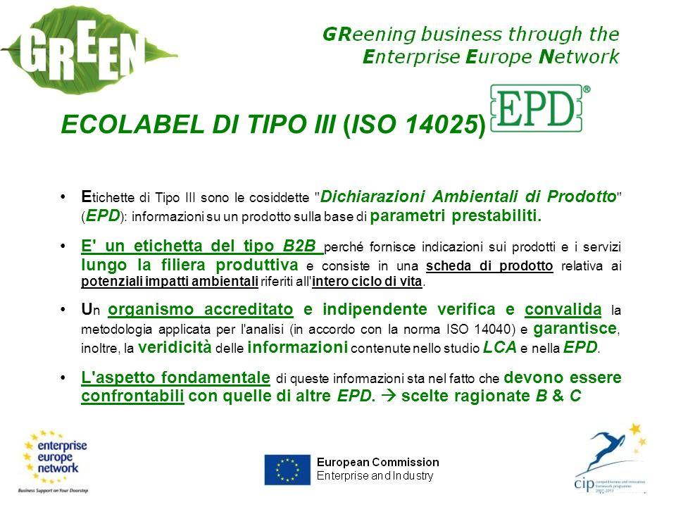 ECOLABEL DI TIPO III (ISO 14025) E tichette di Tipo III sono le cosiddette