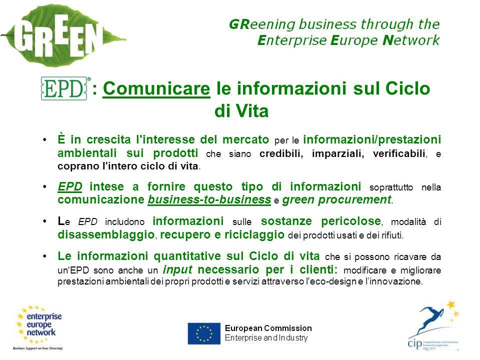 EPD: Comunicare le informazioni sul Ciclo di Vita È in crescita l'interesse del mercato per le informazioni/prestazioni ambientali sui prodotti che si