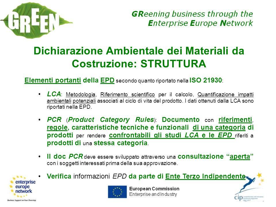 Dichiarazione Ambientale dei Materiali da Costruzione: STRUTTURA Elementi portanti della EPD secondo quanto riportato nella ISO 21930 : LCA : Metodolo