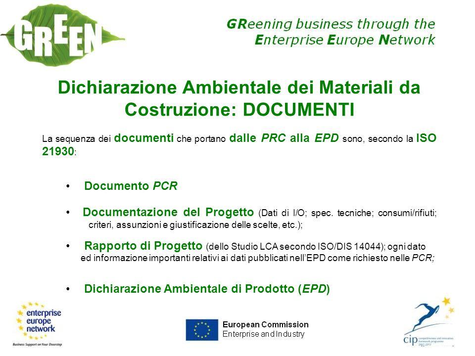 Dichiarazione Ambientale dei Materiali da Costruzione: DOCUMENTI La sequenza dei documenti che portano dalle PRC alla EPD sono, secondo la ISO 21930 :