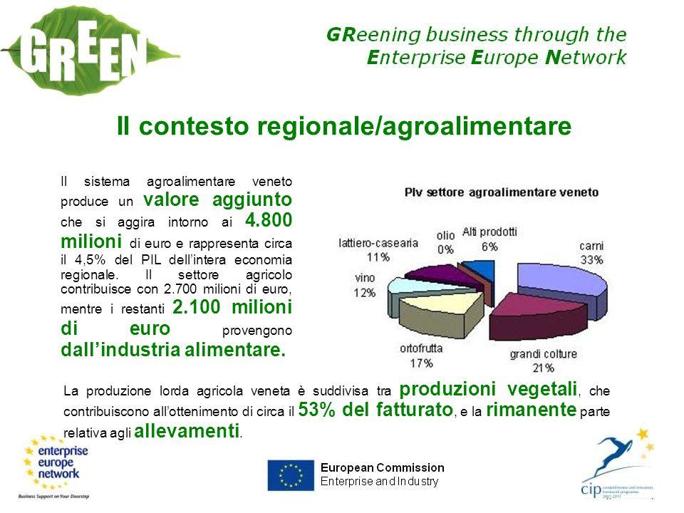 Il contesto regionale/agroalimentare Il sistema agroalimentare veneto produce un valore aggiunto che si aggira intorno ai 4.800 milioni di euro e rapp