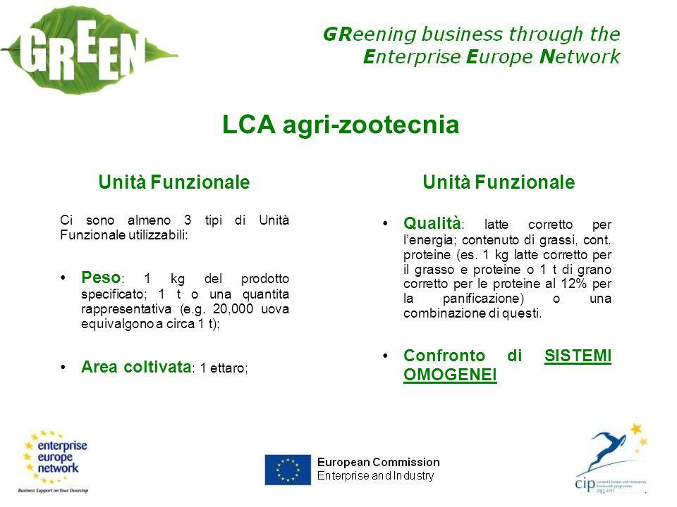 LCA agri-zootecnia Unità Funzionale Ci sono almeno 3 tipi di Unità Funzionale utilizzabili: Peso : 1 kg del prodotto specificato; 1 t o una quantita r