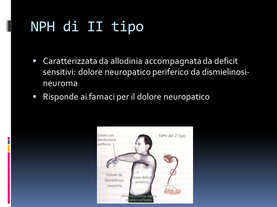 NPH di II tipo Caratterizzata da allodinia accompagnata da deficit sensitivi: dolore neuropatico periferico da dismielinosi- neuroma Risponde ai famaci per il dolore neuropatico