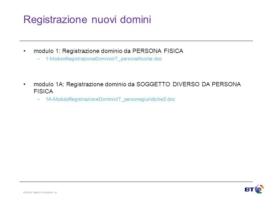 © British Telecommunications plc Registrazione nuovi domini modulo 1: Registrazione dominio da PERSONA FISICA –1-ModuloRegistrazioneDominioIT_personef