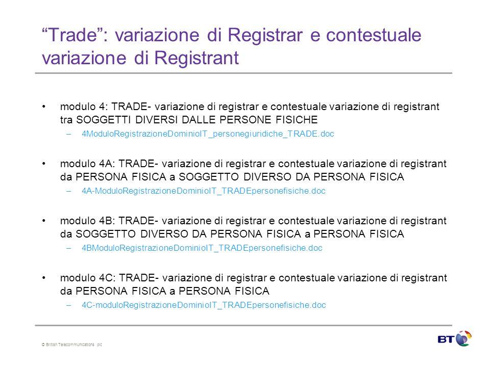 © British Telecommunications plc Trade: variazione di Registrar e contestuale variazione di Registrant modulo 4: TRADE- variazione di registrar e contestuale variazione di registrant tra SOGGETTI DIVERSI DALLE PERSONE FISICHE –4ModuloRegistrazioneDominioIT_personegiuridiche_TRADE.doc modulo 4A: TRADE- variazione di registrar e contestuale variazione di registrant da PERSONA FISICA a SOGGETTO DIVERSO DA PERSONA FISICA –4A-ModuloRegistrazioneDominioIT_TRADEpersonefisiche.doc modulo 4B: TRADE- variazione di registrar e contestuale variazione di registrant da SOGGETTO DIVERSO DA PERSONA FISICA a PERSONA FISICA –4BModuloRegistrazioneDominioIT_TRADEpersonefisiche.doc modulo 4C: TRADE- variazione di registrar e contestuale variazione di registrant da PERSONA FISICA a PERSONA FISICA –4C-moduloRegistrazioneDominioIT_TRADEpersonefisiche.doc