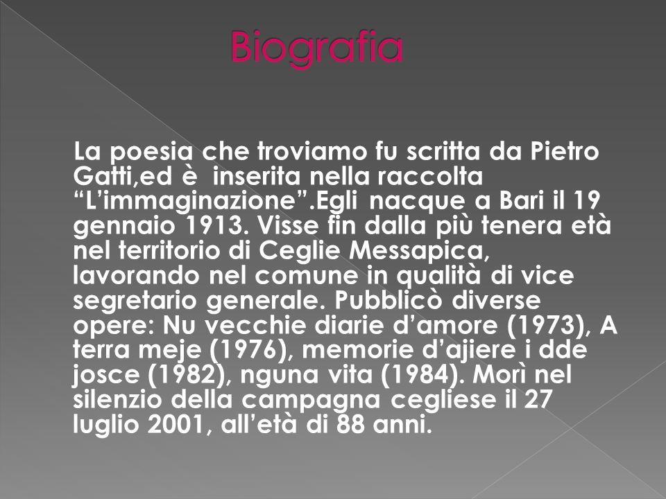 La poesia che troviamo fu scritta da Pietro Gatti,ed è inserita nella raccolta Limmaginazione.Egli nacque a Bari il 19 gennaio 1913.