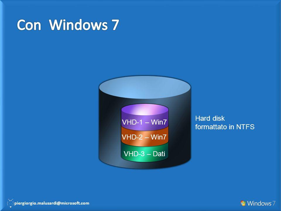 piergiorgio.malusardi@microsoft.com Hard disk formattato in NTFS VHD-3 – Dati VHD-2 – Win7 VHD-1 – Win7