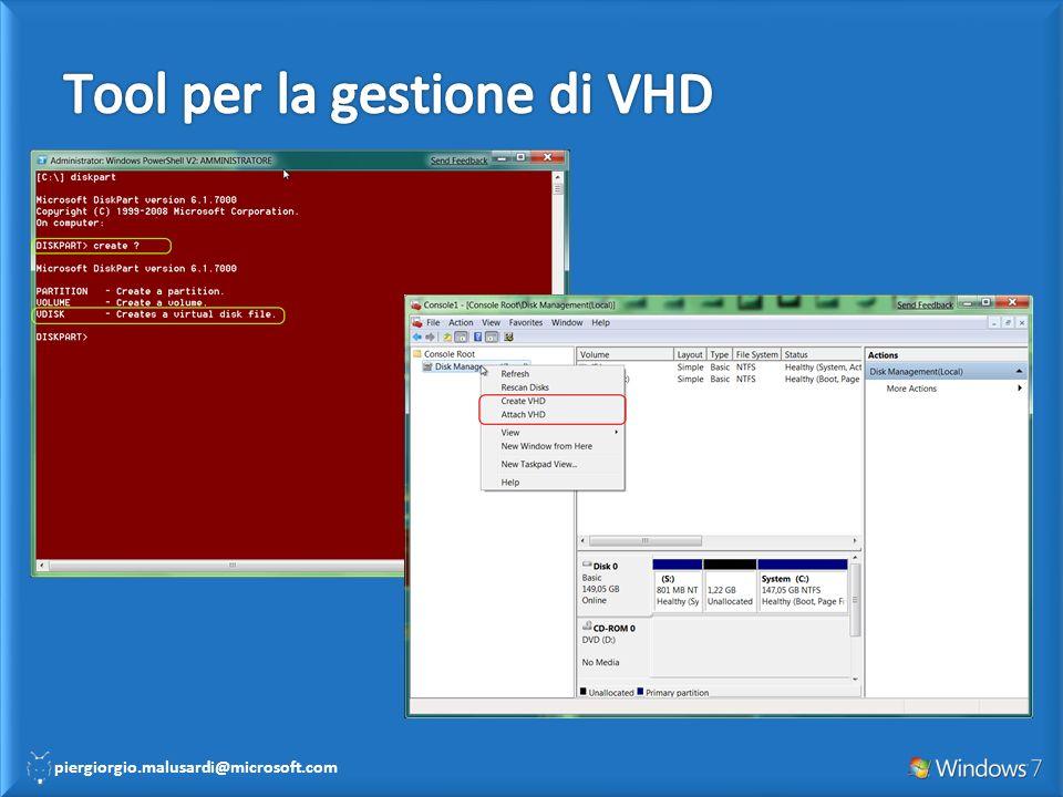 Creazione e attach di un VHD con DISKPART Creazione e attach di un VHD con Disk Management