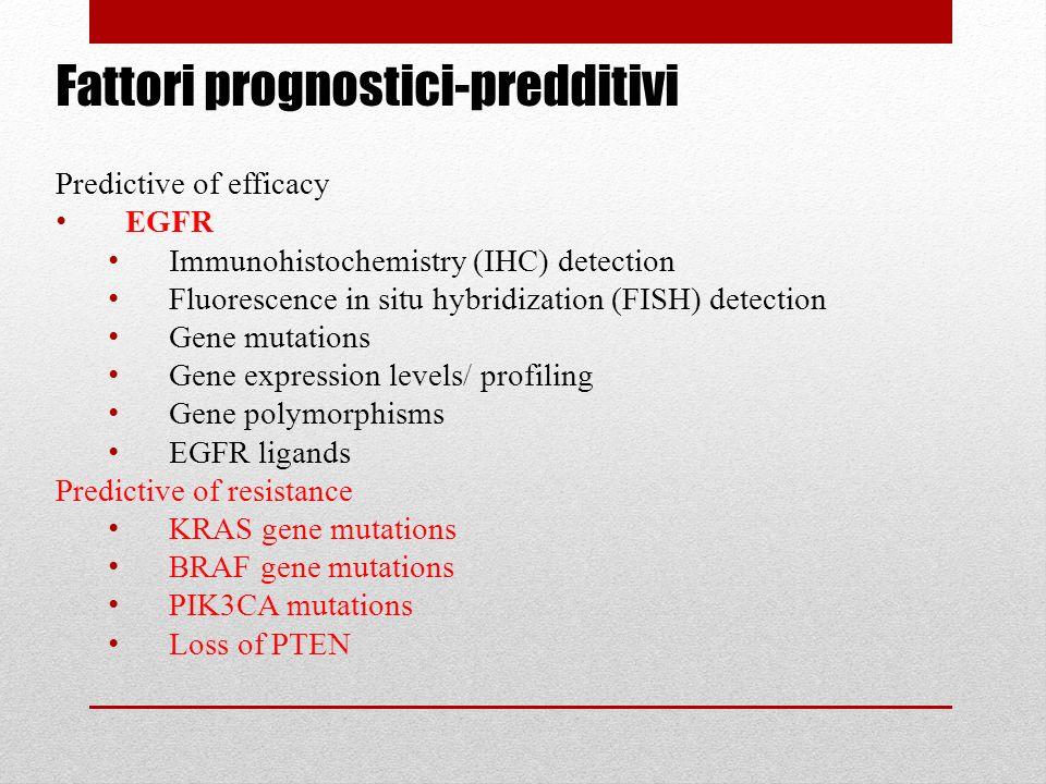Fattori prognostici-predditivi Predictive of efficacy EGFR Immunohistochemistry (IHC) detection Fluorescence in situ hybridization (FISH) detection Ge