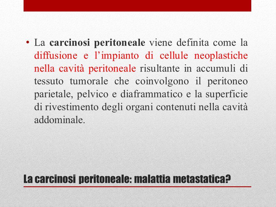 CARCINOSI PERITONEALE DA CA COLORETTALE - 10%- 30% sincrona a tumori gastrointestinali - 25%- 35% metacrona (recidiva intraperitoneale) - Sopravvivenza mediana 6 mesi - Chemioterapia: 50%di risposte obiettive con sopravvivenza globale di 15-18 mesi - 50% di tossicità di grado III-IV.