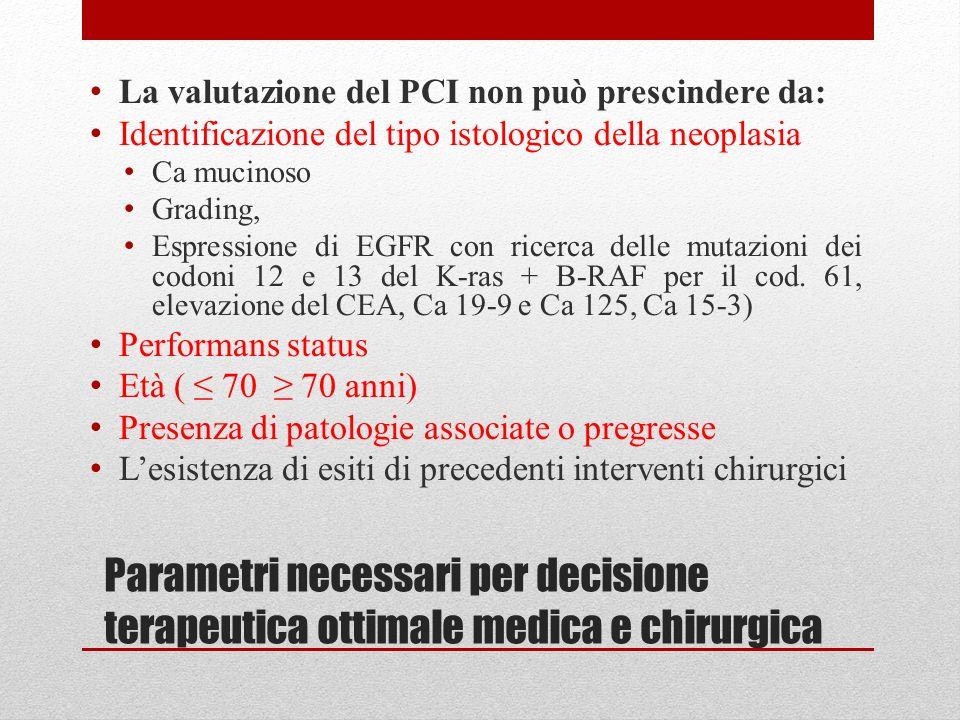 Parametri necessari per decisione terapeutica ottimale medica e chirurgica La valutazione del PCI non può prescindere da: Identificazione del tipo ist