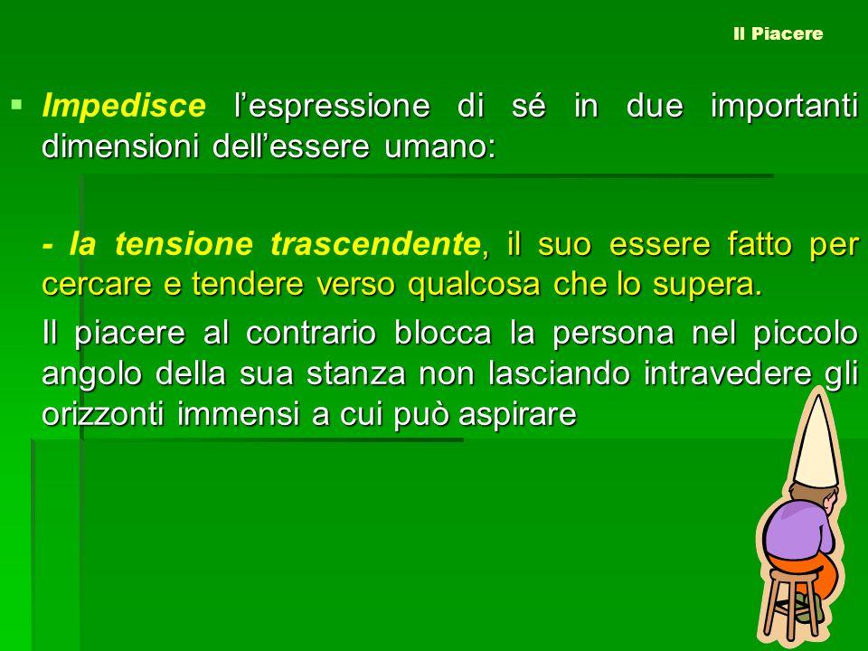 lespressione di sé in due importanti dimensioni dellessere umano: Impedisce lespressione di sé in due importanti dimensioni dellessere umano:, il suo
