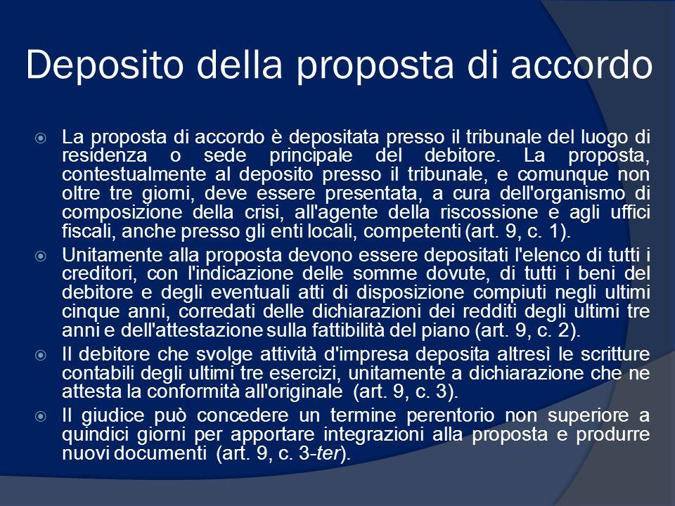 Deposito della proposta di accordo La proposta di accordo è depositata presso il tribunale del luogo di residenza o sede principale del debitore. La p