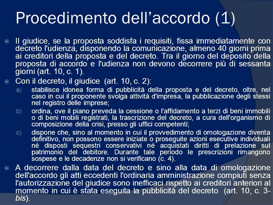 Procedimento dellaccordo (1) Il giudice, se la proposta soddisfa i requisiti, fissa immediatamente con decreto l'udienza, disponendo la comunicazione,