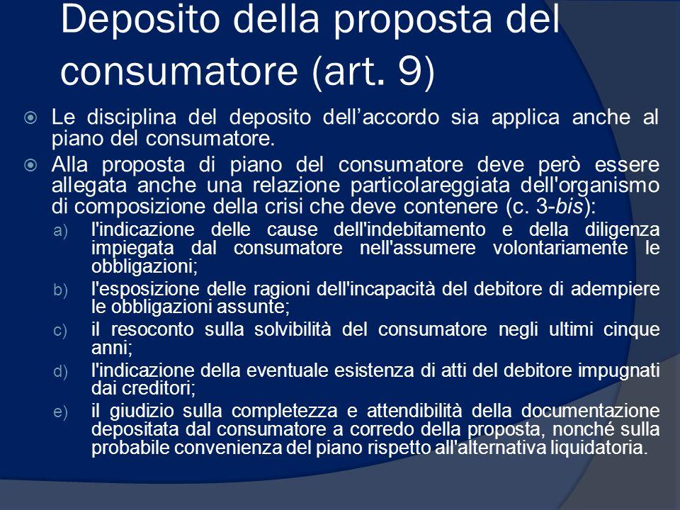 Deposito della proposta del consumatore (art. 9) Le disciplina del deposito dellaccordo sia applica anche al piano del consumatore. Alla proposta di p
