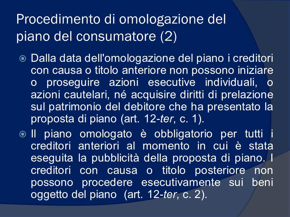Procedimento di omologazione del piano del consumatore (2) Dalla data dell'omologazione del piano i creditori con causa o titolo anteriore non possono