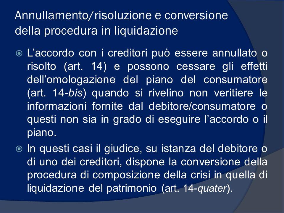Annullamento/risoluzione e conversione della procedura in liquidazione Laccordo con i creditori può essere annullato o risolto (art. 14) e possono ces