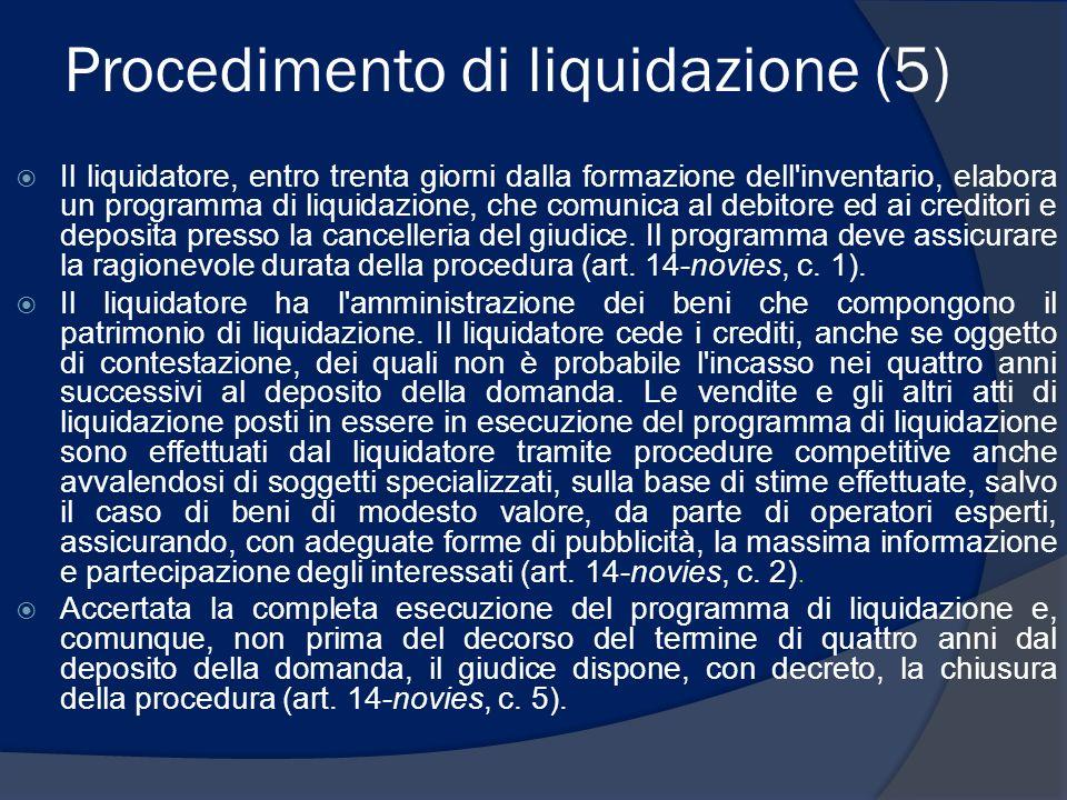 Procedimento di liquidazione (5) Il liquidatore, entro trenta giorni dalla formazione dell'inventario, elabora un programma di liquidazione, che comun