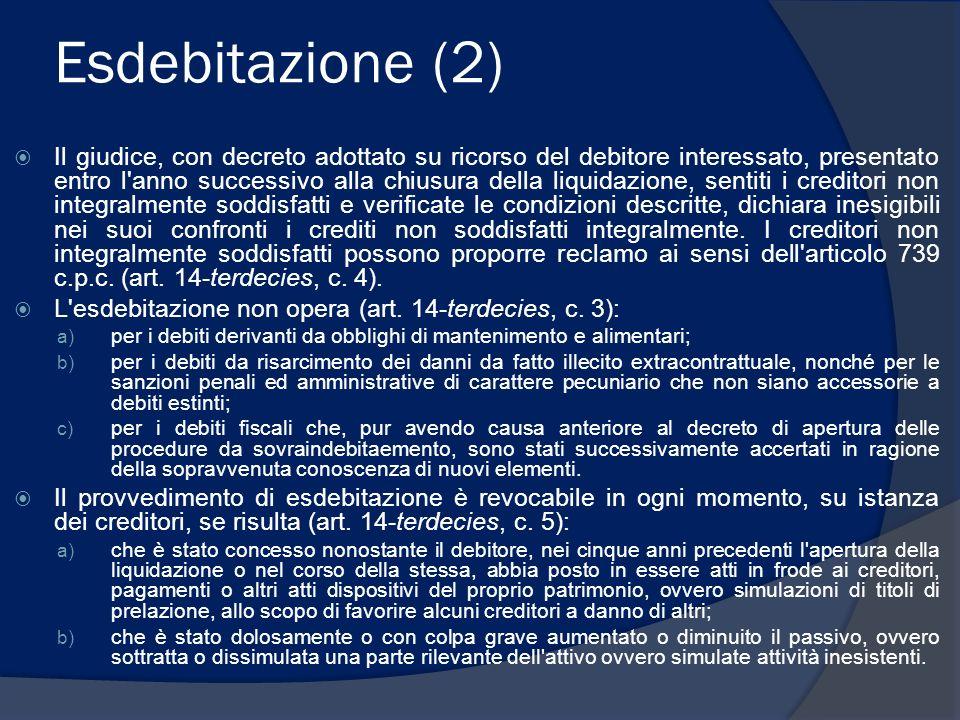 Esdebitazione (2) Il giudice, con decreto adottato su ricorso del debitore interessato, presentato entro l'anno successivo alla chiusura della liquida