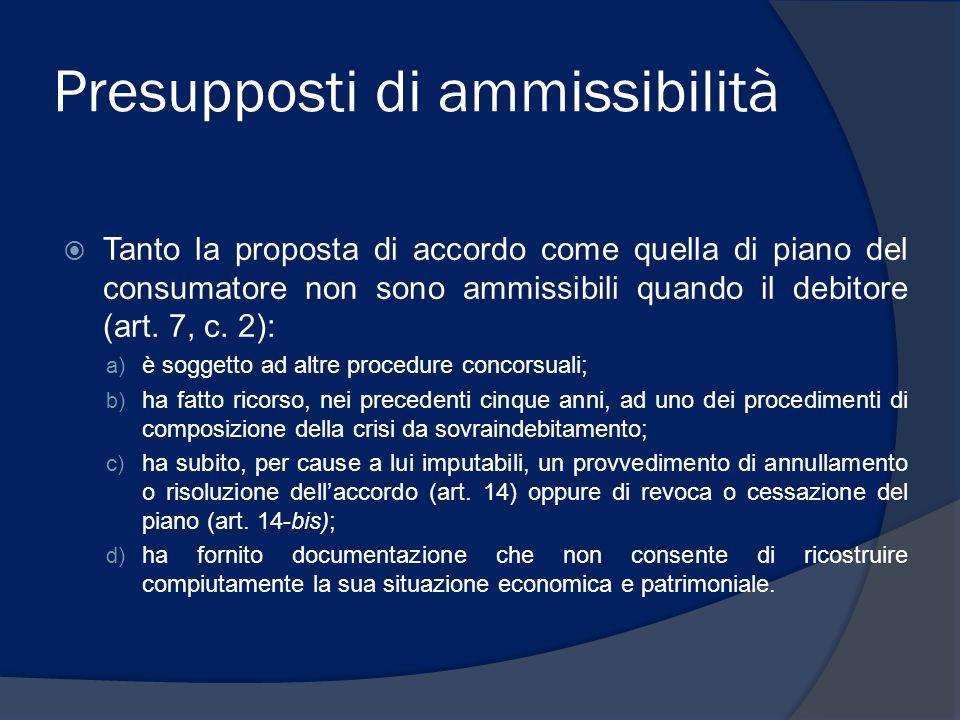 Presupposti di ammissibilità Tanto la proposta di accordo come quella di piano del consumatore non sono ammissibili quando il debitore (art. 7, c. 2):