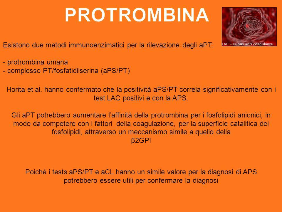 Esistono due metodi immunoenzimatici per la rilevazione degli aPT: - protrombina umana - complesso PT/fosfatidilserina (aPS/PT) Horita et al.