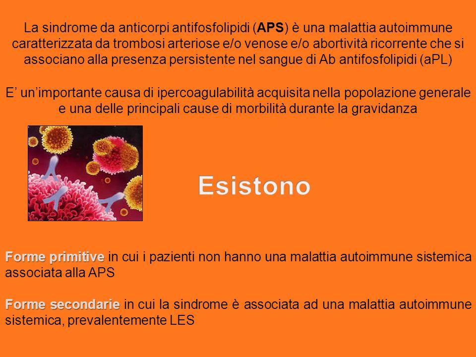 La sindrome da anticorpi antifosfolipidi (APS) è una malattia autoimmune caratterizzata da trombosi arteriose e/o venose e/o abortività ricorrente che si associano alla presenza persistente nel sangue di Ab antifosfolipidi (aPL) E unimportante causa di ipercoagulabilità acquisita nella popolazione generale e una delle principali cause di morbilità durante la gravidanza Forme primitive Forme primitive in cui i pazienti non hanno una malattia autoimmune sistemica associata alla APS Forme secondarie Forme secondarie in cui la sindrome è associata ad una malattia autoimmune sistemica, prevalentemente LES