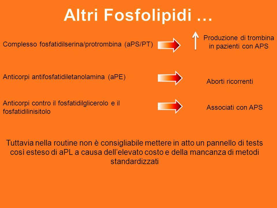 Complesso fosfatidilserina/protrombina (aPS/PT) Produzione di trombina in pazienti con APS Anticorpi antifosfatidiletanolamina (aPE) Aborti ricorrenti Anticorpi contro il fosfatidilglicerolo e il fosfatidilinisitolo Associati con APS Tuttavia nella routine non è consigliabile mettere in atto un pannello di tests così esteso di aPL a causa dellelevato costo e della mancanza di metodi standardizzati