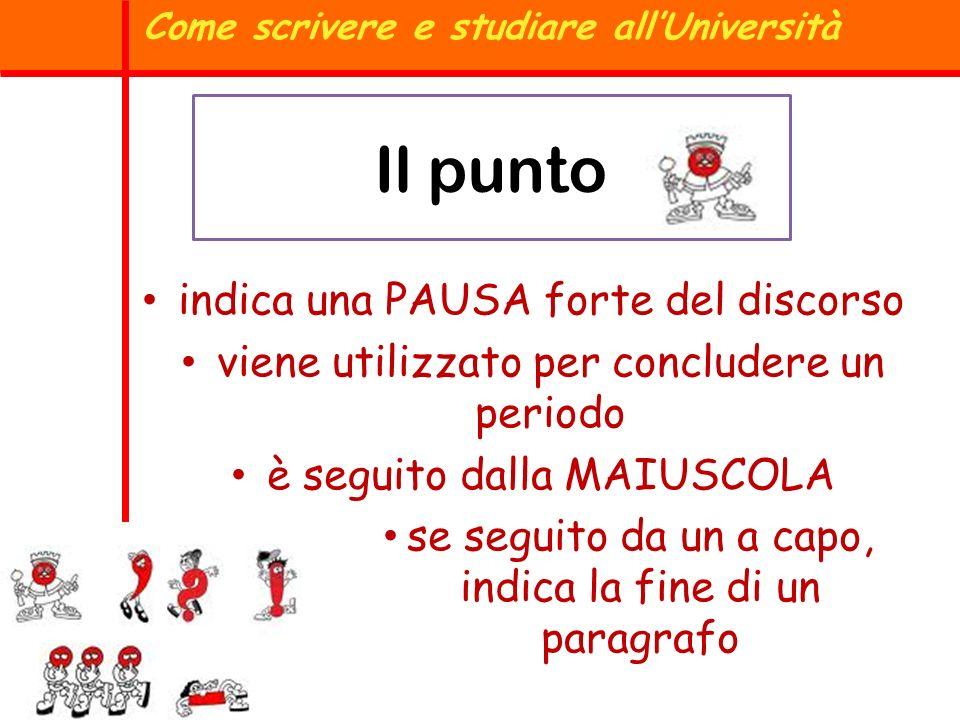 Il punto Come scrivere e studiare allUniversità indica una PAUSA forte del discorso viene utilizzato per concludere un periodo è seguito dalla MAIUSCO