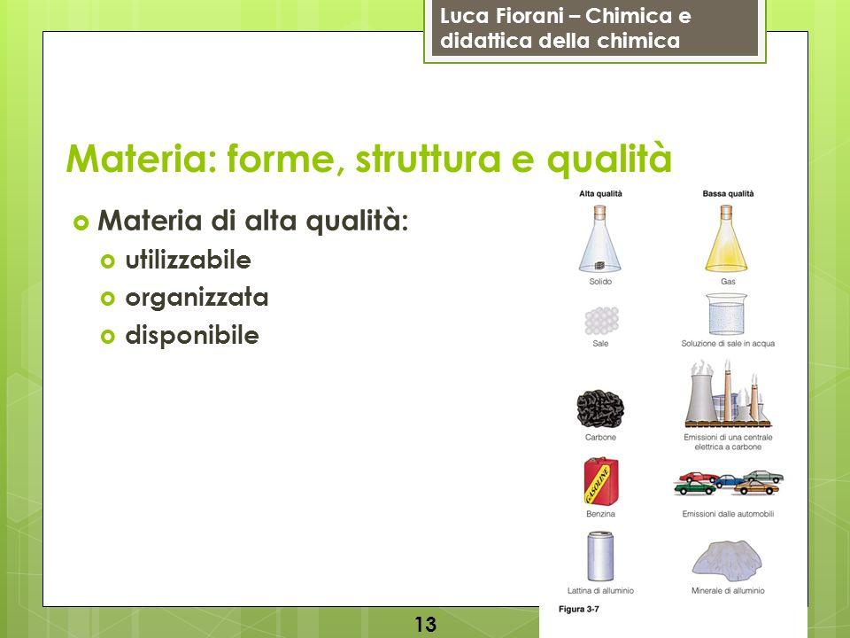 Luca Fiorani – Chimica e didattica della chimica Materia: forme, struttura e qualità Materia di alta qualità: utilizzabile organizzata disponibile 13