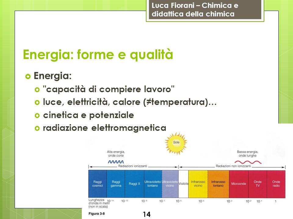 Luca Fiorani – Chimica e didattica della chimica Energia: forme e qualità Energia: capacità di compiere lavoro luce, elettricità, calore (temperatura)… cinetica e potenziale radiazione elettromagnetica 14