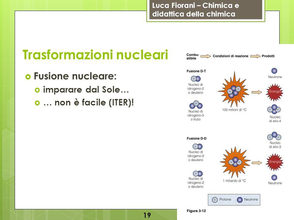 Luca Fiorani – Chimica e didattica della chimica Trasformazioni nucleari Fusione nucleare: imparare dal Sole… … non è facile (ITER).