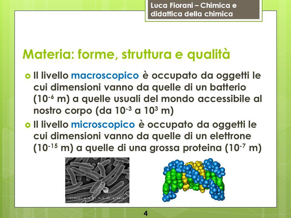 Luca Fiorani – Chimica e didattica della chimica Materia: forme, struttura e qualità Il livello macroscopico è occupato da oggetti le cui dimensioni vanno da quelle di un batterio (10 -6 m) a quelle usuali del mondo accessibile al nostro corpo (da 10 -3 a 10 3 m) Il livello microscopico è occupato da oggetti le cui dimensioni vanno da quelle di un elettrone (10 -15 m) a quelle di una grossa proteina (10 -7 m) 4