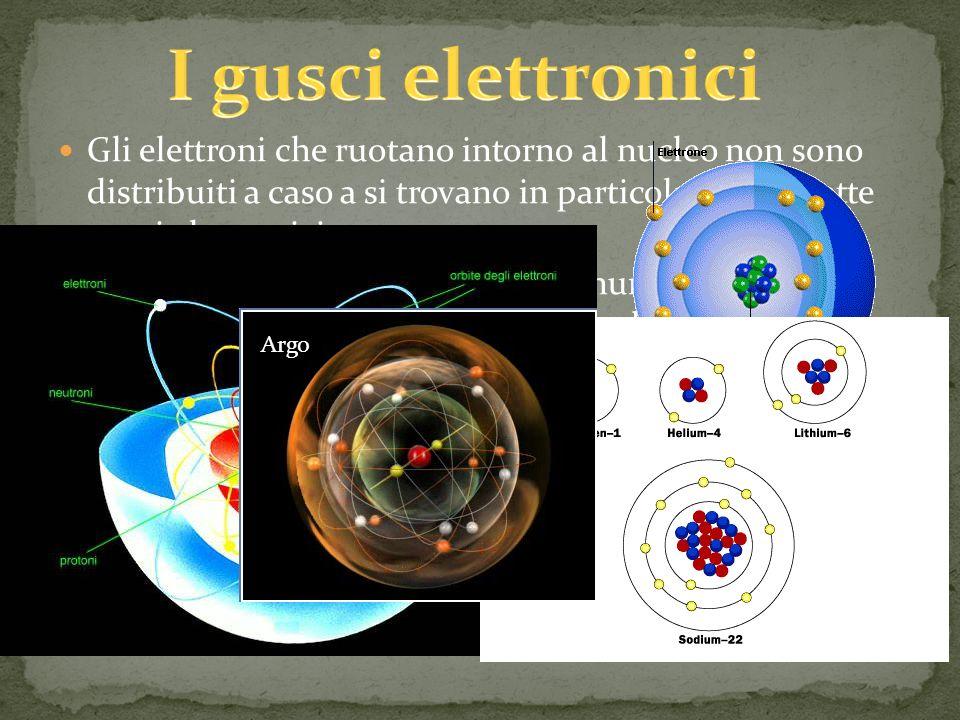 Gli elettroni che ruotano intorno al nucleo non sono distribuiti a caso a si trovano in particolari zone dette gusci elettronici Teoricamente non cè un limite al numero dei gusci elettronici ma normalmente si dice che i gusci elettronici sono 7 perché con questa quantità è possibile sistemare tutti gli atomi fino a Z=119 ma tale atomo non è stato ancora scoperto Ad ogni guscio compete una particolare energia che ne determina il livello energetico Il primo guscio contiene 2 elettroni, lultimo guscio al massimo 8 elettroni Argo
