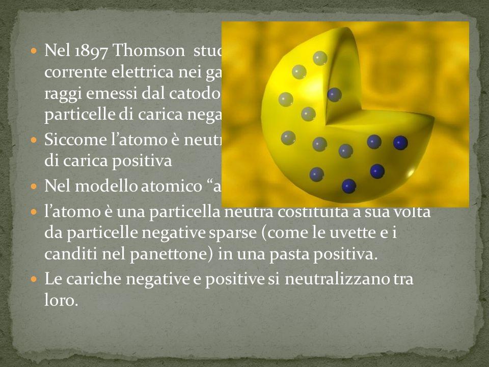 Nel 1897 Thomson studiando il passaggio della corrente elettrica nei gas rarefatti, dimostra che i raggi emessi dal catodo (raggi catodici) sono particelle di carica negativa(raggi catodici) Siccome latomo è neutro debbono esistere particelle di carica positiva Nel modello atomico a panettone di Thomson: latomo è una particella neutra costituita a sua volta da particelle negative sparse (come le uvette e i canditi nel panettone) in una pasta positiva.