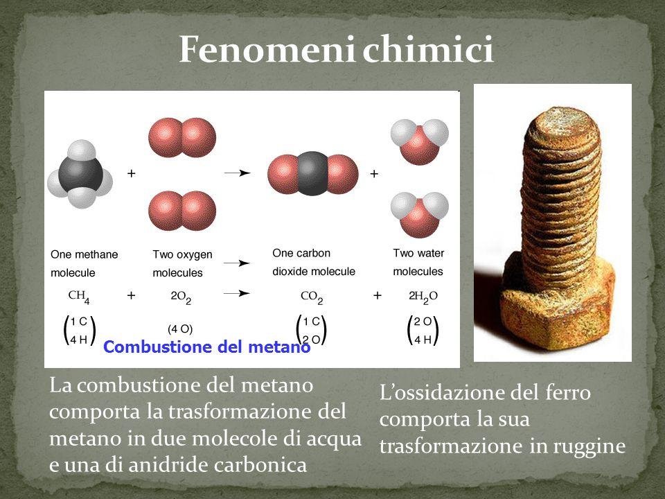 Combustione del metano La combustione del metano comporta la trasformazione del metano in due molecole di acqua e una di anidride carbonica Lossidazione del ferro comporta la sua trasformazione in ruggine