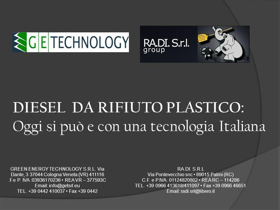 DIESEL DA RIFIUTO PLASTICO: Oggi si può e con una tecnologia Italiana GREEN ENERGY TECHNOLOGY S.R.L. Via Dante, 3 37044 Cologna Veneta (VR) 411116.F.e