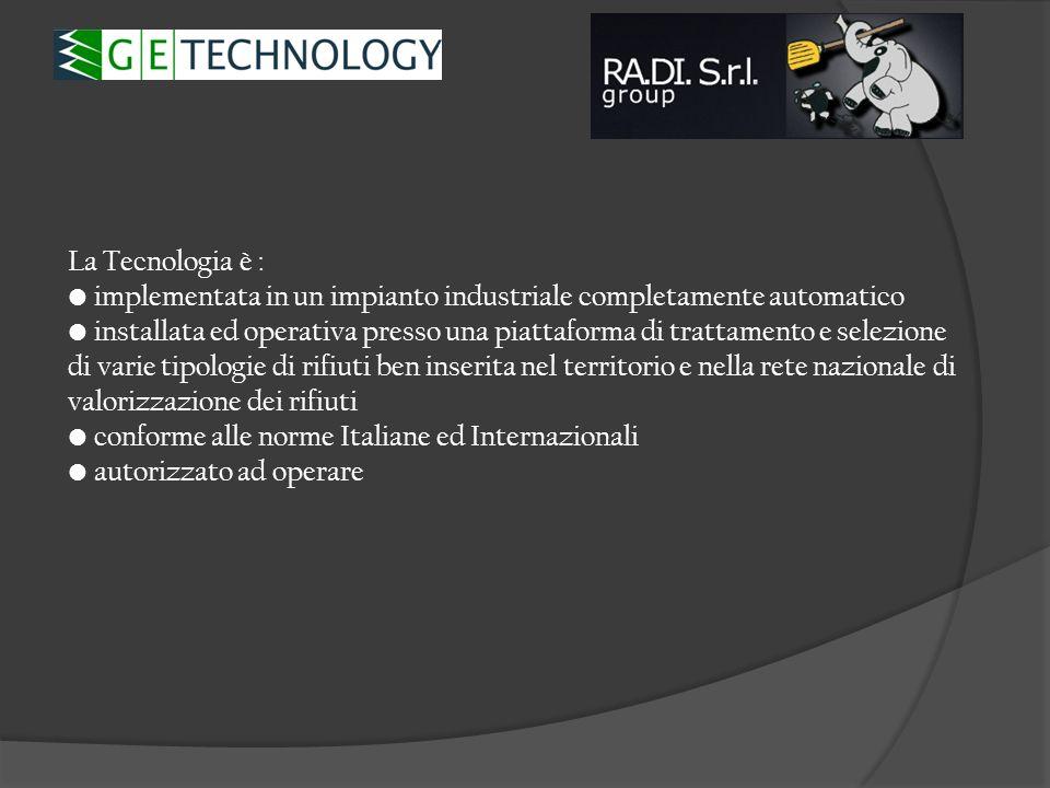 La Tecnologia è : implementata in un impianto industriale completamente automatico installata ed operativa presso una piattaforma di trattamento e sel