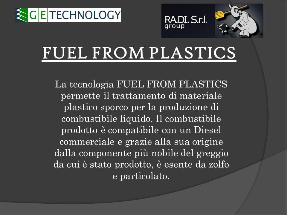 FUEL FROM PLASTICS La tecnologia FUEL FROM PLASTICS permette il trattamento di materiale plastico sporco per la produzione di combustibile liquido. Il