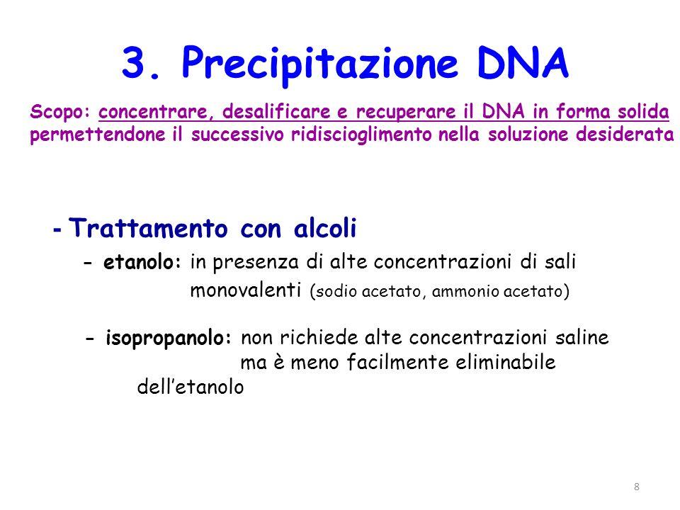 8 3. Precipitazione DNA Scopo: concentrare, desalificare e recuperare il DNA in forma solida permettendone il successivo ridiscioglimento nella soluzi