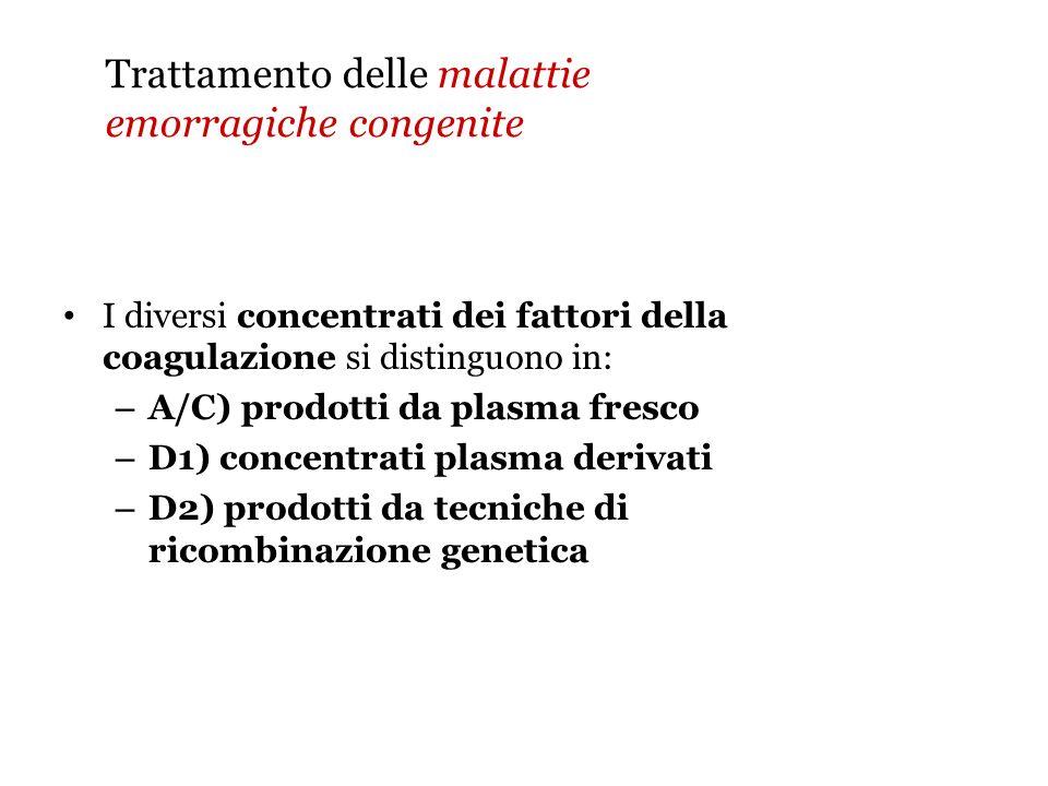 Trattamento delle malattie emorragiche congenite I diversi concentrati dei fattori della coagulazione si distinguono in: – A/C) prodotti da plasma fre